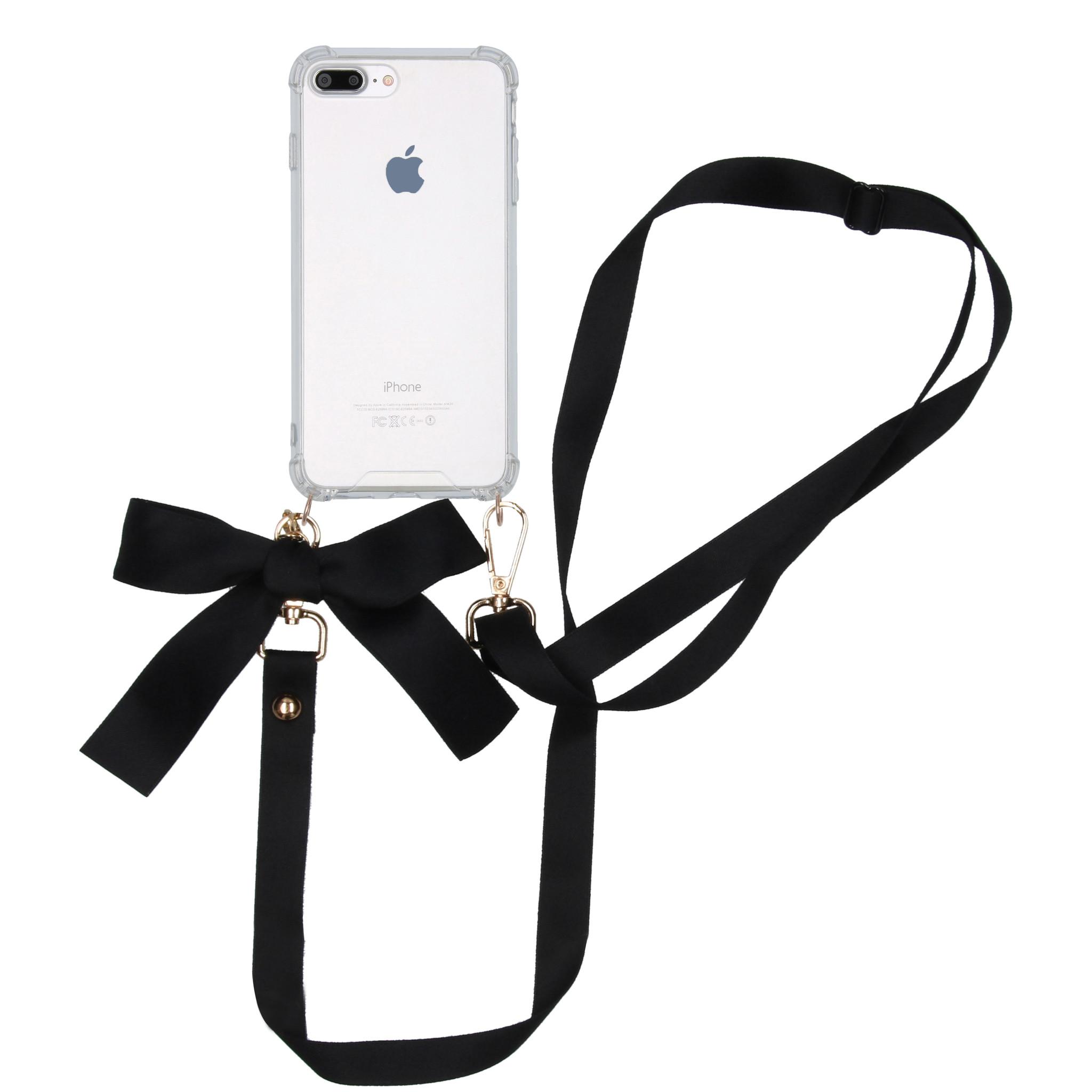 iMoshion Backcover met koord - Satijn iPhone 8 Plus / 7 Plus - Zwart