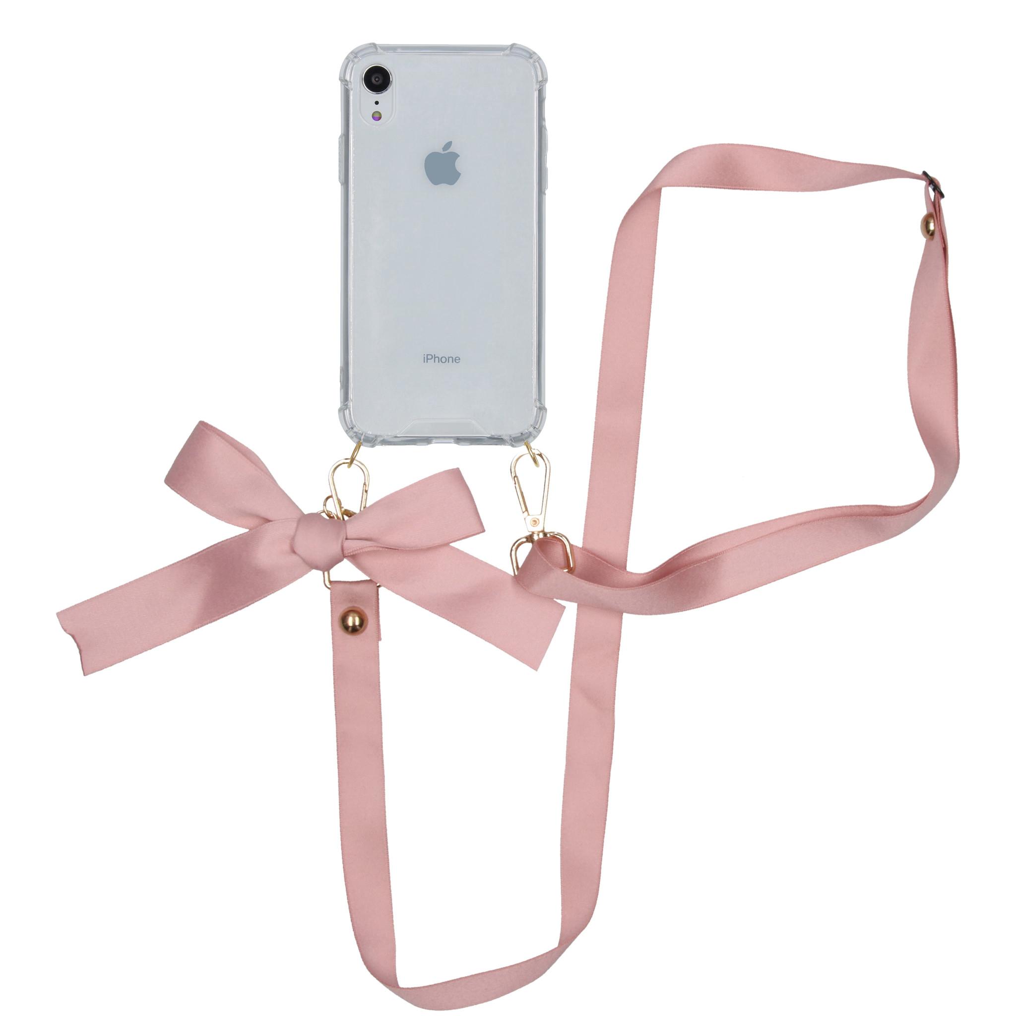 iMoshion Backcover met koord - Satijn iPhone Xr - Rosé Goud