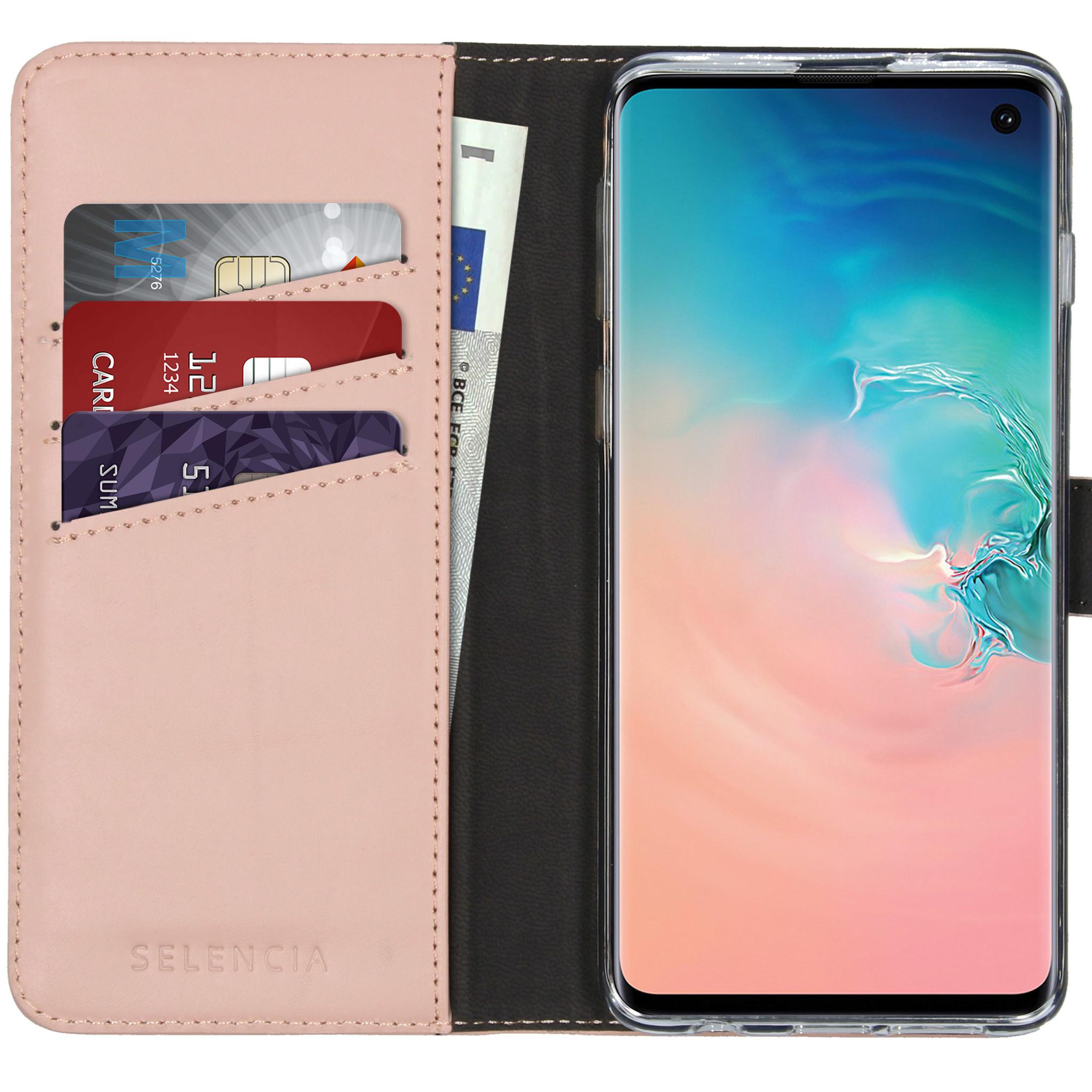 Selencia Echt Lederen Booktype Samsung Galaxy S10 - Roze