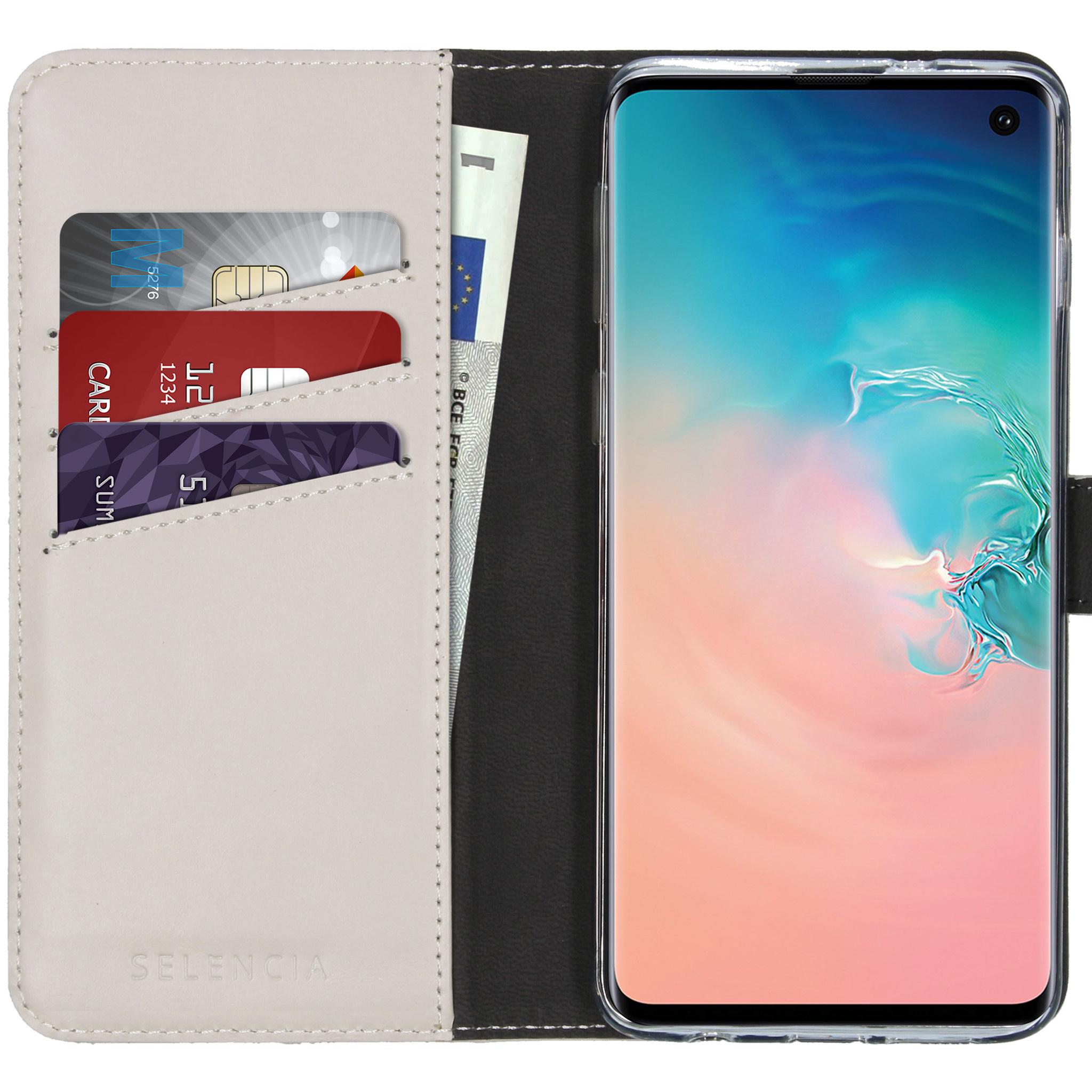 Selencia Echt Lederen Booktype Samsung Galaxy S10 - Lichtgrijs