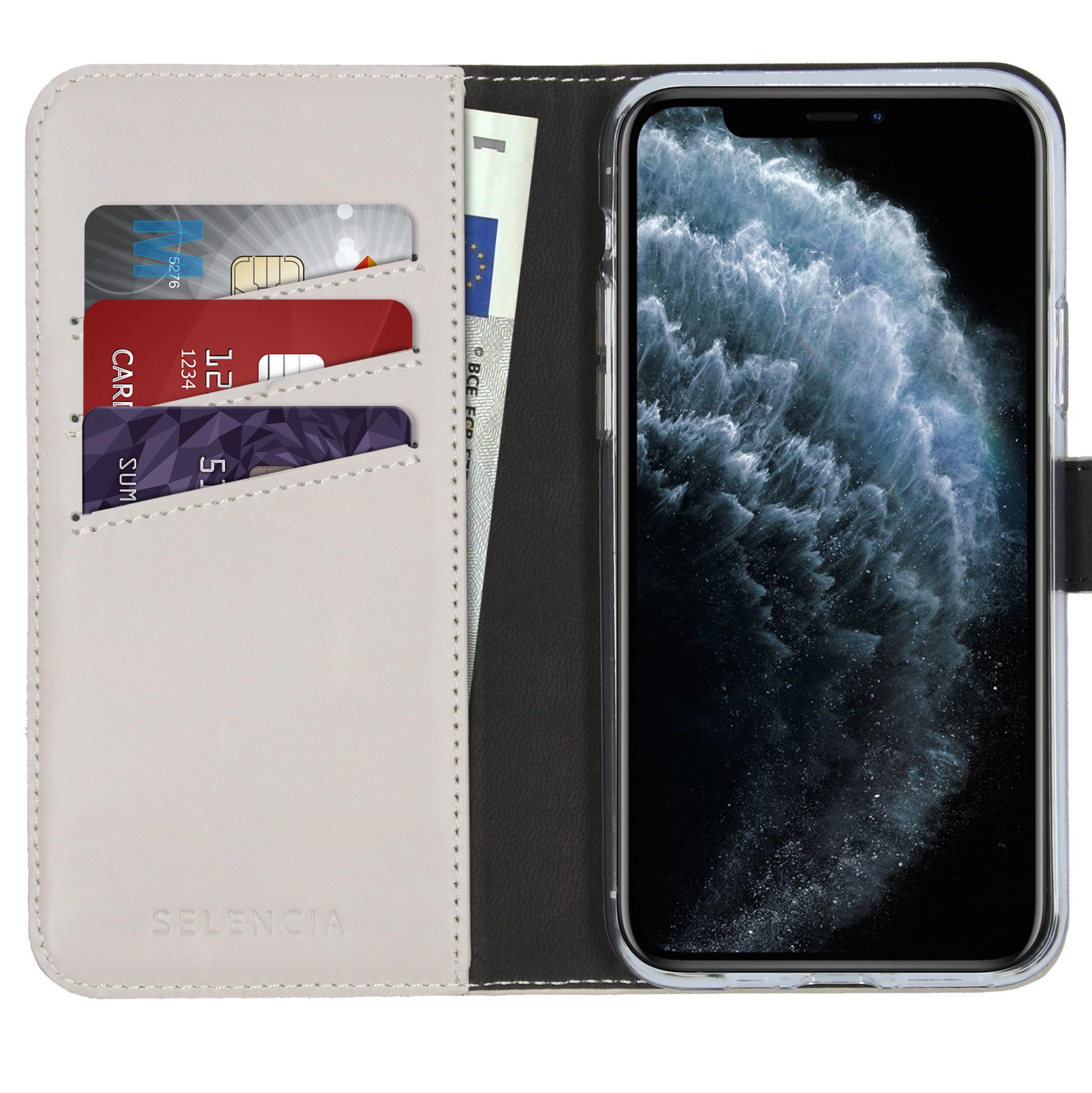 Selencia Echt Lederen Booktype iPhone 11 Pro - Lichtgrijs