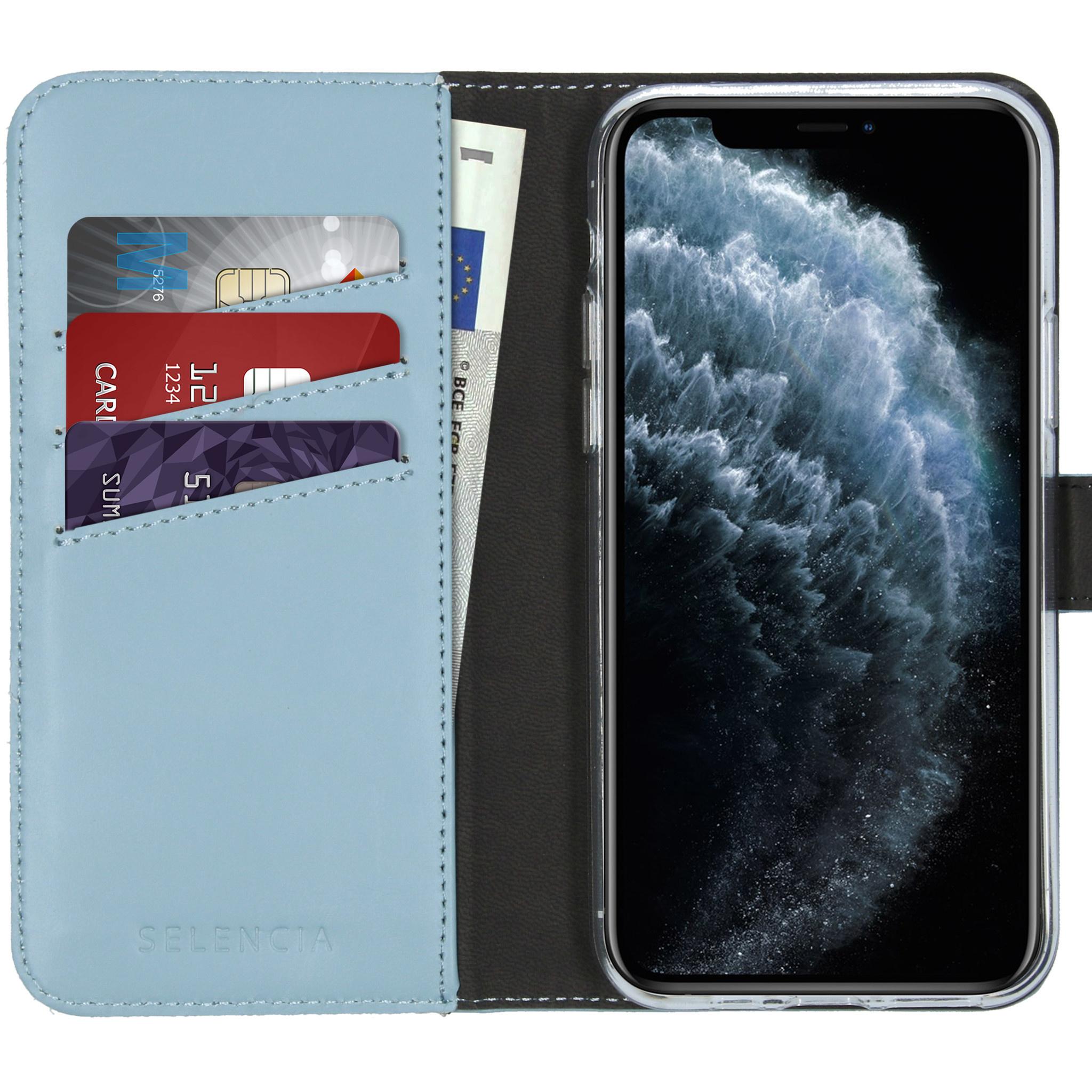 Selencia Echt Lederen Booktype iPhone 11 Pro - Lichtblauw