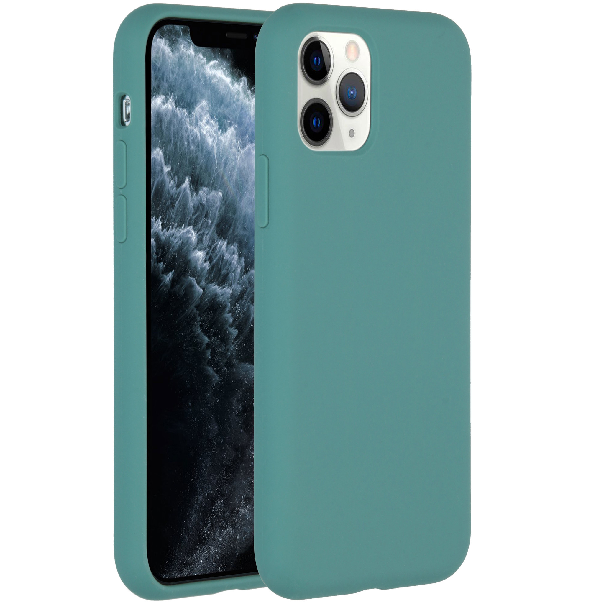 Accezz Liquid Silicone Backcover iPhone 11 Pro - Donkergroen