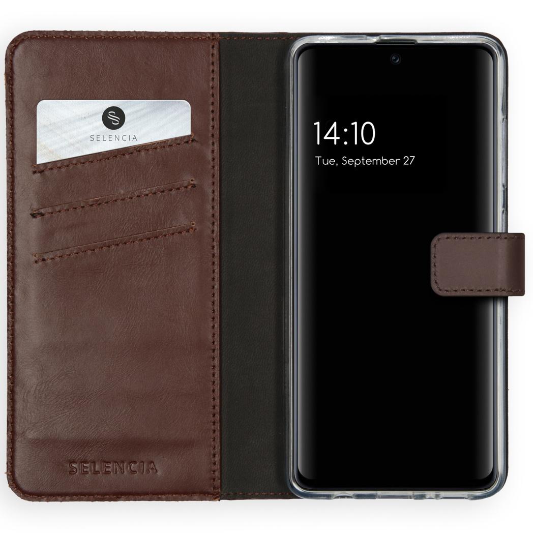 Selencia Echt Lederen Booktype Samsung Galaxy A51 - Bruin