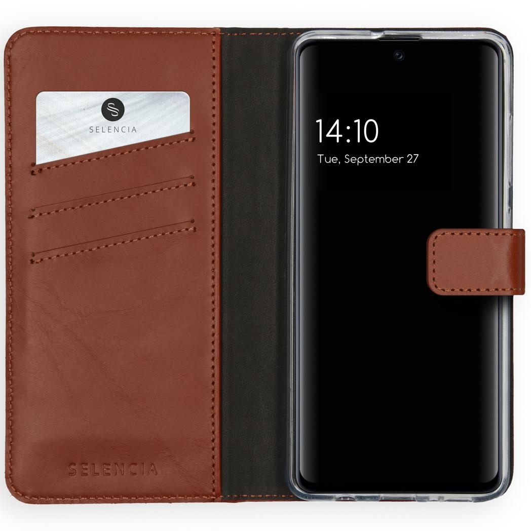 Selencia Echt Lederen Booktype Samsung Galaxy A51 - Lichtbruin