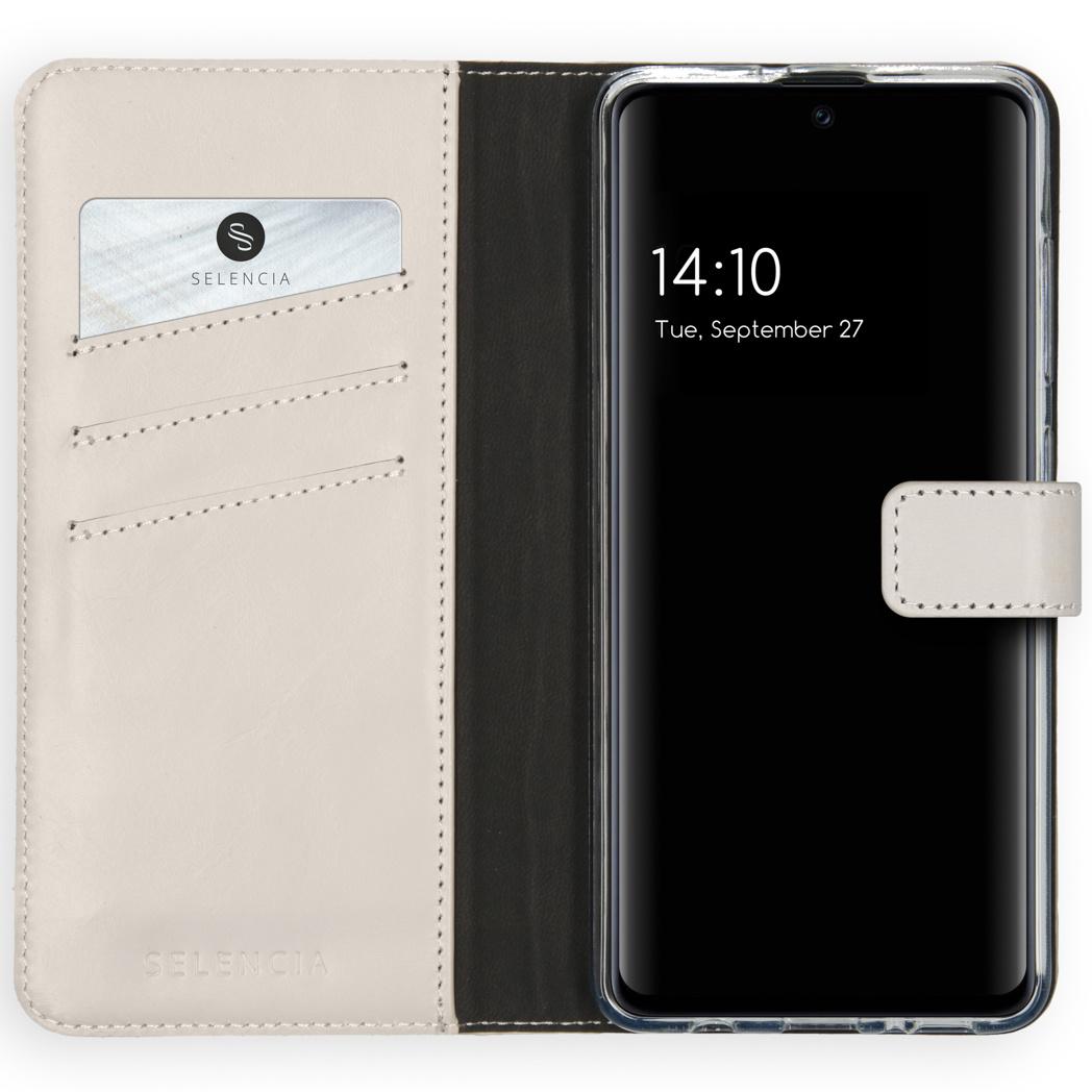 Selencia Echt Lederen Booktype Samsung Galaxy A51 - Lichtgrijs
