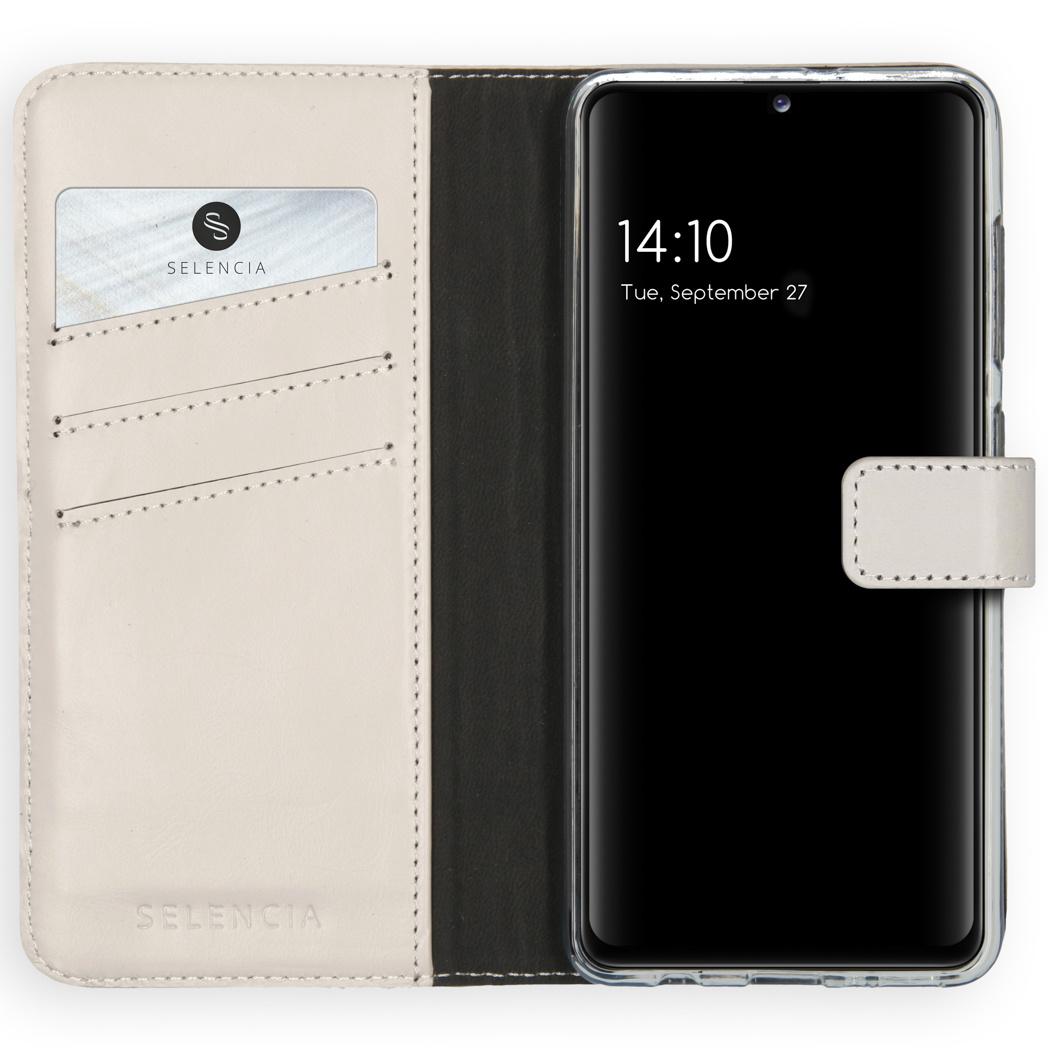 Selencia Echt Lederen Booktype Samsung Galaxy A41 - Lichtgrijs