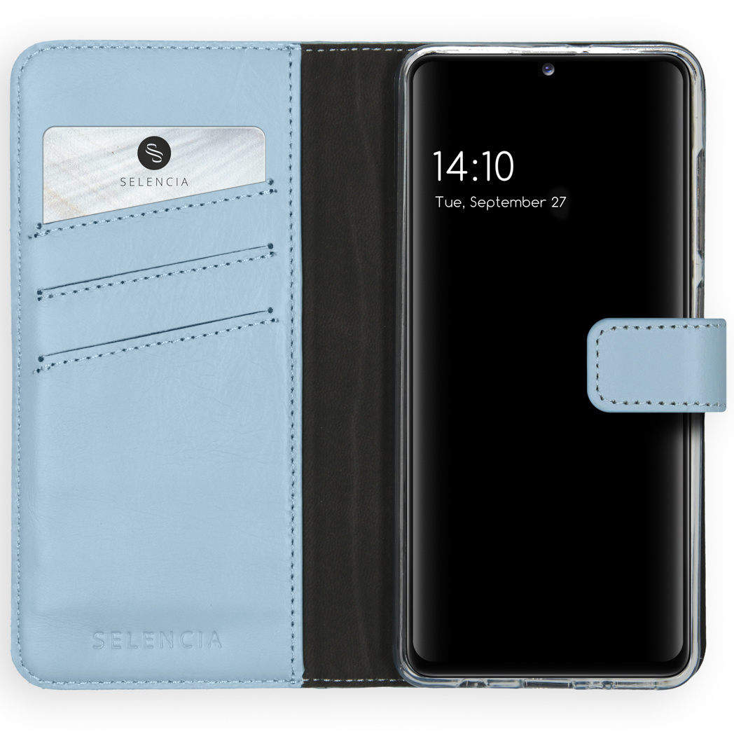 Selencia Echt Lederen Booktype Samsung Galaxy A41 - Lichtblauw