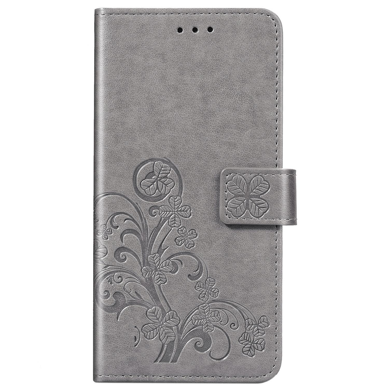 Klavertje Bloemen Booktype Samsung Galaxy A41 - Grijs