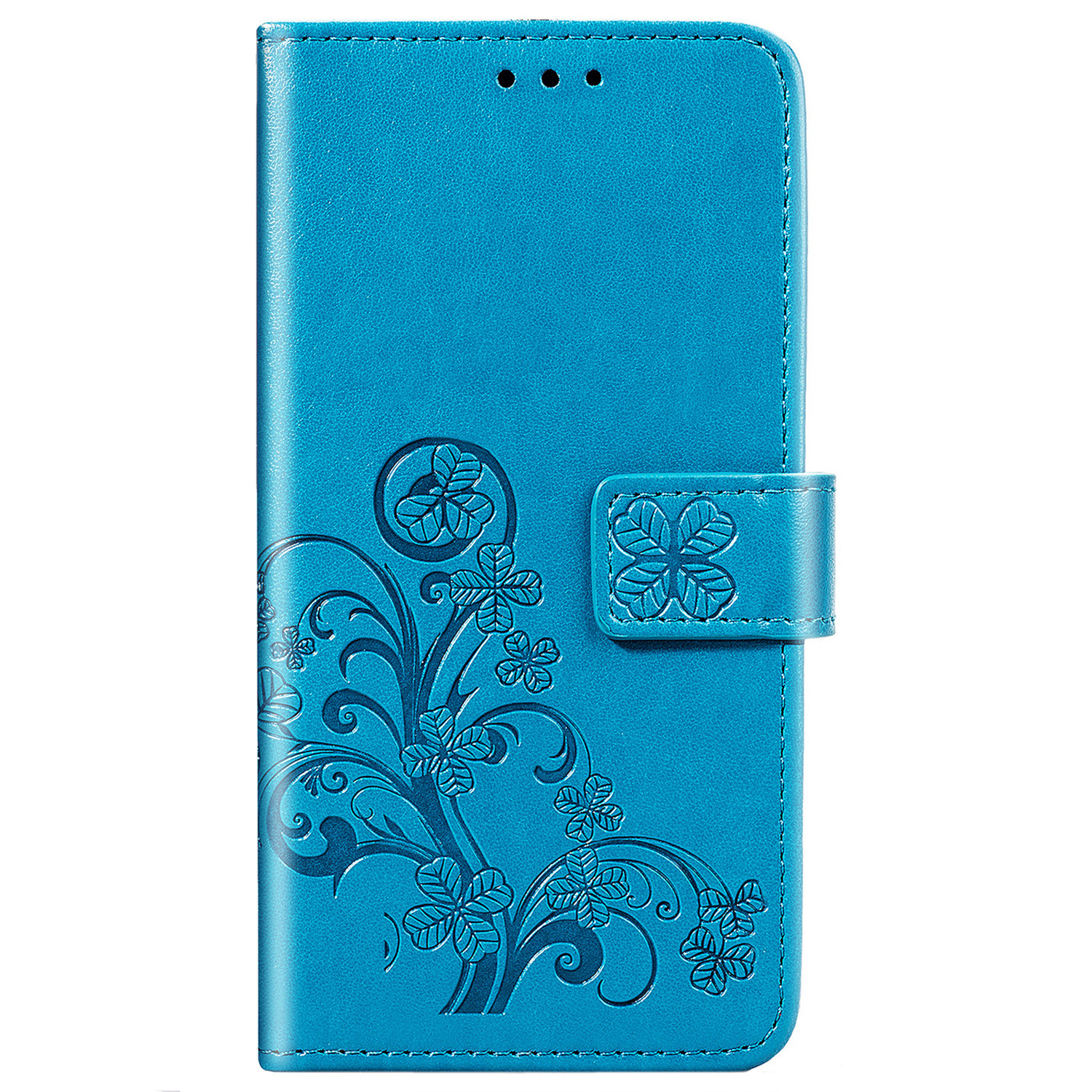 Klavertje Bloemen Booktype Samsung Galaxy A41 - Turquoise