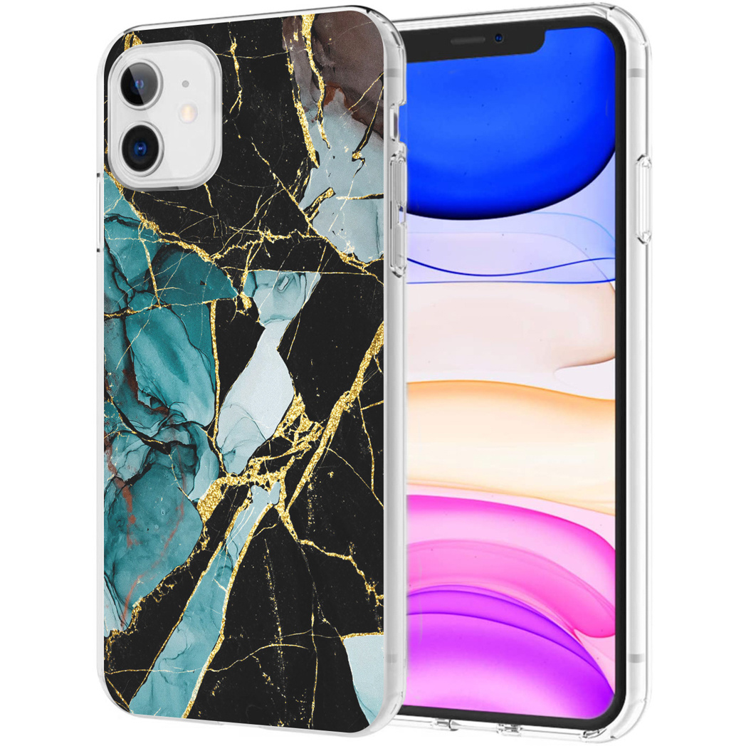 iMoshion Design hoesje iPhone 11 - Marmer - Gebroken Blauw