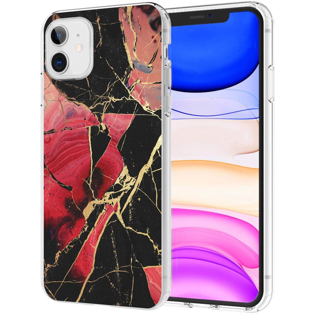 iMoshion Design hoesje iPhone 11 - Marmer - Gebroken Rood