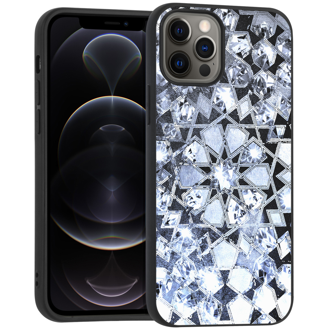 iMoshion Design hoesje iPhone 12 (Pro) - Grafisch - Zilver Bling
