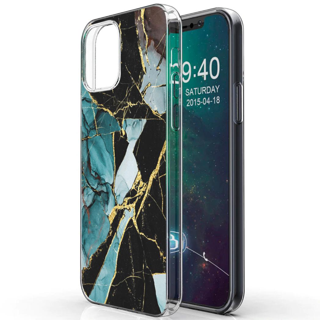 iMoshion Design hoesje iPhone 12 (Pro) - Marmer - Gebroken Blauw