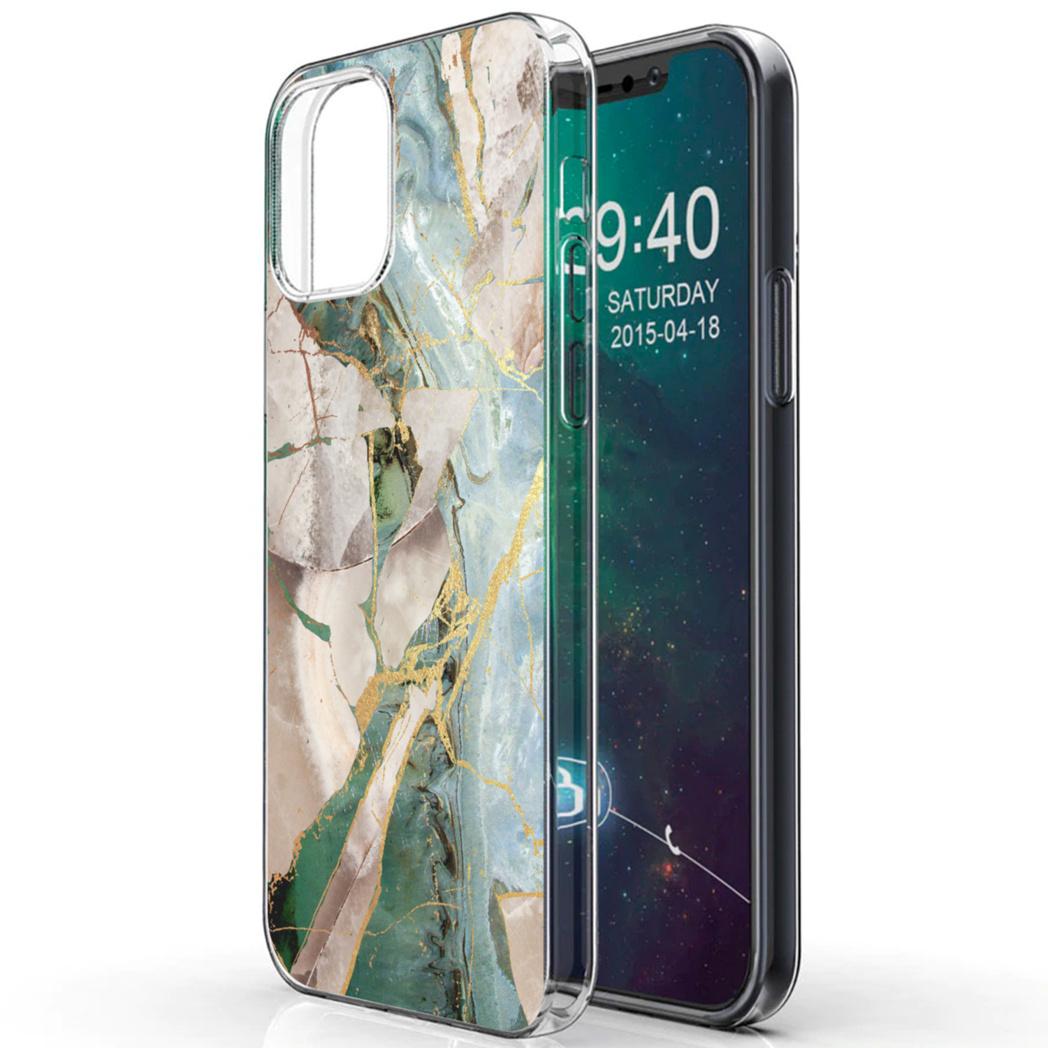 iMoshion Design hoesje iPhone 12 (Pro) - Marmer - Gebroken Beige