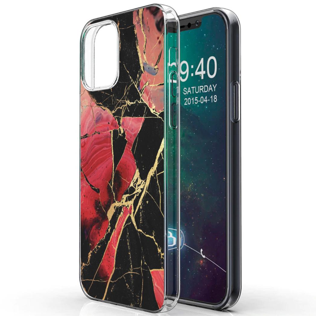 iMoshion Design hoesje iPhone 12 (Pro) - Marmer - Gebroken Rood