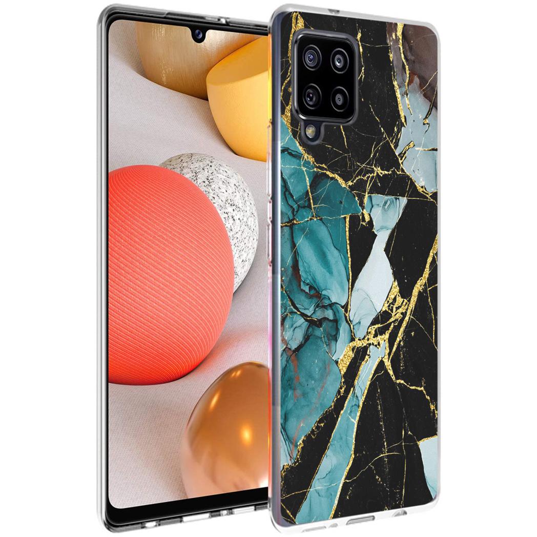 iMoshion Design hoesje Samsung Galaxy A42 - Marmer - Gebroken Blauw