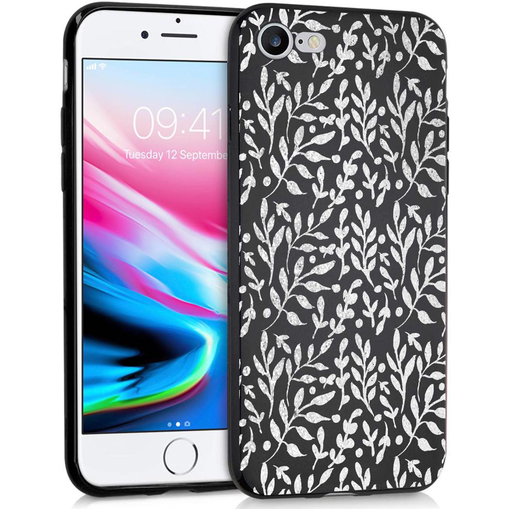 iMoshion Design hoesje iPhone SE (2020) / 8 / 7 - Bladeren - Zilver