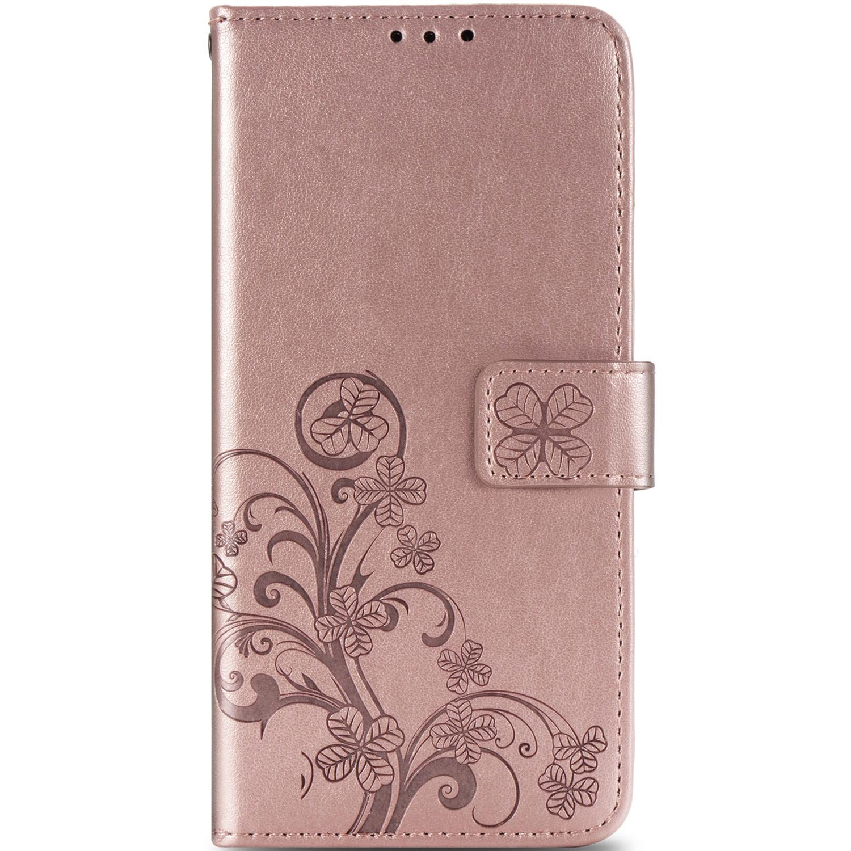 Klavertje Bloemen Booktype OnePlus 8 - Rosé Goud