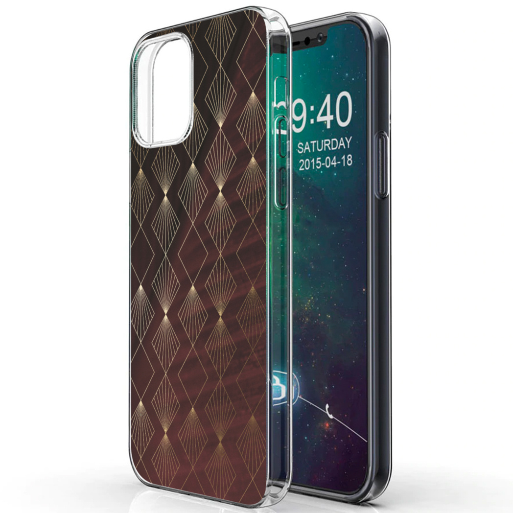 iMoshion Design hoesje iPhone 12 (Pro) - Patroon - Rood / Goud