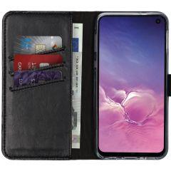 Selencia Echt Lederen Booktype Samsung Galaxy S10e - Zwart