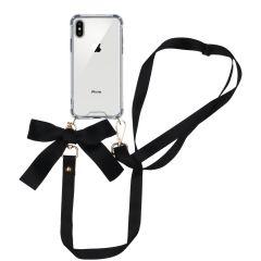 iMoshion Backcover met koord - Satijn iPhone Xs / X - Zwart