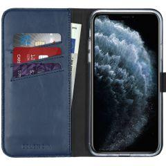 Selencia Echt Lederen Booktype iPhone 11 Pro Max - Blauw