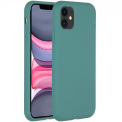 Accezz Liquid Silicone Backcover iPhone 11 - Donkergroen