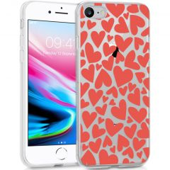 iMoshion Design hoesje iPhone SE (2020) / 8 / 7 / 6s - Hartjes - Rood