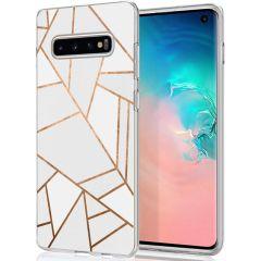iMoshion Design hoesje Galaxy S10 - Grafisch Koper - Wit / Goud