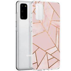 iMoshion Design hoesje Galaxy S20 - Grafisch Koper - Roze / Goud