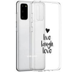 iMoshion Design hoesje Samsung Galaxy S20 - Live Laugh Love - Zwart