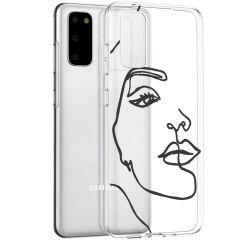 iMoshion Design hoesje Samsung Galaxy S20 - Abstract Gezicht - Zwart