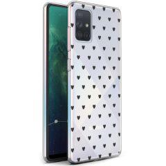 iMoshion Design hoesje Samsung Galaxy A71 - Hartjes - Zwart