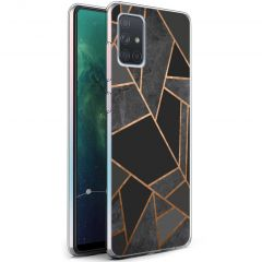 iMoshion Design hoesje Galaxy A71 - Grafisch Koper - Zwart / Goud