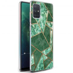 iMoshion Design hoesje Galaxy A71 - Grafisch Koper - Groen / Goud