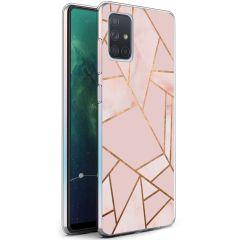 iMoshion Design hoesje Galaxy A71 - Grafisch Koper - Roze / Goud