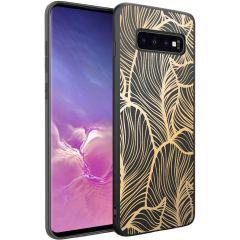 iMoshion Design hoesje Samsung Galaxy S10 - Bladeren - Goud / Zwart