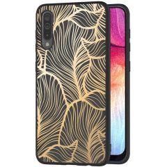 iMoshion Design hoesje Galaxy A50 / A30s - Bladeren - Goud / Zwart