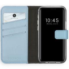 Selencia Echt Lederen Booktype iPhone 12 Mini - Lichtblauw