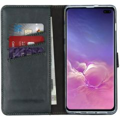 Selencia Echt Lederen Booktype Samsung Galaxy S10 Plus - Groen