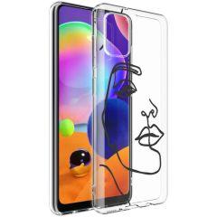 iMoshion Design hoesje Samsung Galaxy A31 - Abstract Gezicht - Zwart