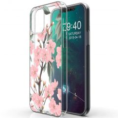iMoshion Design hoesje iPhone 12 (Pro) - Bloem - Roze / Groen