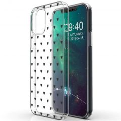 iMoshion Design hoesje iPhone 12 (Pro) - Hartjes - Zwart