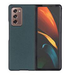 Litchi Real Leather Shell Samsung Galaxy Z Fold2 - Groen
