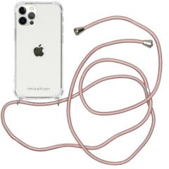 iMoshion Backcover met koord iPhone 12 (Pro) - Rosé Goud