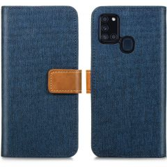 iMoshion Luxe Canvas Booktype Samsung Galaxy A21s - Donkerblauw