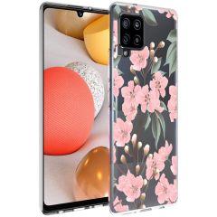 iMoshion Design hoesje Samsung Galaxy A42 - Bloem - Roze / Groen