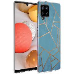 iMoshion Design hoesje Galaxy A42 - Grafisch Koper - Blauw / Goud