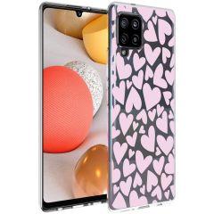 iMoshion Design hoesje Samsung Galaxy A42 - Hartjes - Roze